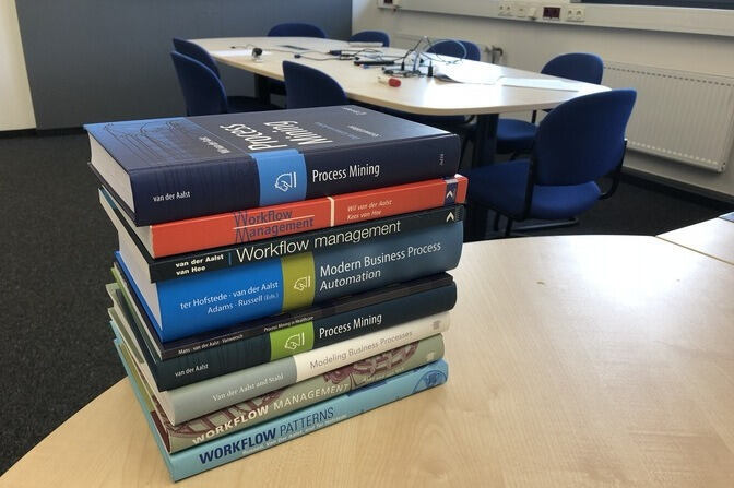 A Pile of Books by Professor van der Aalst
